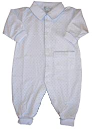 Kissy Kissy Baby Dots Collared Playsuit-White with Blue Dots-0-3 Months