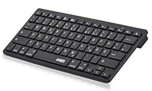 DONZO® BTK-01MAC-B UNIVERSAL BT Bluetooth Tastatur QWERTZ Layout (deutsche Tastatur/Tastenbelegung) geeignet für Smartphone | Smart TV | Laptop / PC | fast alle Geräte und Handys - schwarz