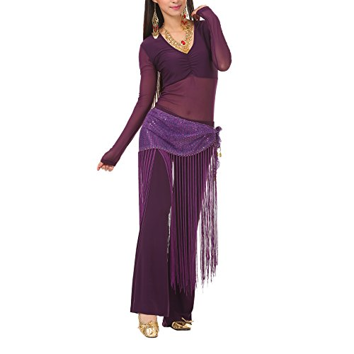 BellyLady Belly Dance/Yoga Costume, Long Sleeve Top, Pants and Fringe Hip Scarf