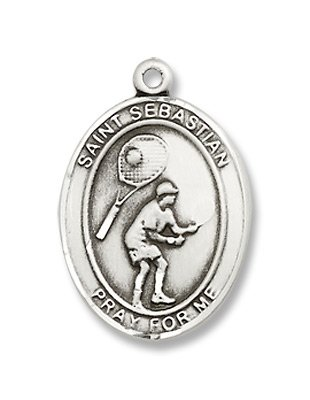 St. Sebastian Sport Tennis Sterling Silver Medal with 18