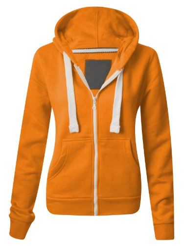 Womens Zip Top Hoodie, Medium UK 10, Orange