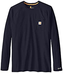 Carhartt Men\'s Big & Tall Force Cotton Long Sleeve T-Shirt,Navy,Large Tall