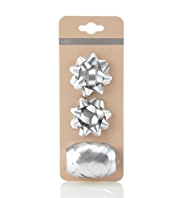2 Silver Bows & Ribbon Accessories Pack