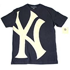 New York Yankees MLB Mens Oversize Logo T-Shirt by Wright & Ditson - Navy by Wright & Ditson