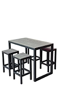 Set table haute et tabourets de jardin newport for Table haute exterieure