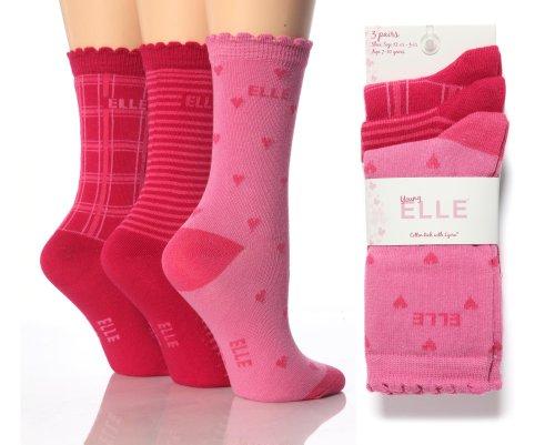 6 Pairs YE02 Girls Elle Tonal Pink Ankle Socks