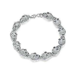 925 Sterling Silber Armband mit Schädel Platinum CZ Stones Herren Gothic Schmuck plattiert