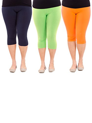 Zando da donna 3/4 lunghezza elasticizzato morbido Plus Size Crop Seamless Capri Leggings 3 Pairs Navy Blue w Green w Orange US XL