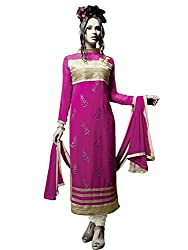 Charming Pink & White Coloured Embroidered Salwar Kameez