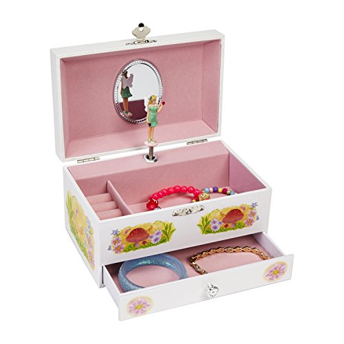 JewelKeeper Fairy in the Wild Musical Jewelry Storage Box with Pullout Drawer, White Design, Beautiful Dreamer Tune