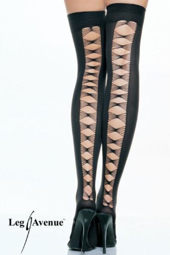 Lycra opaque thigh highs with criss cross back seam.