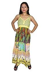 Indiatrendzs Women Dress Printed Yellow Casual Wear Cotton Maxi Dress