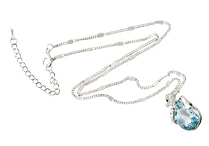 niceeshop(TM) Träneförmig Anhänger Kristall Liebe Herz Strickjacke-Kette Halskette-Meerblau