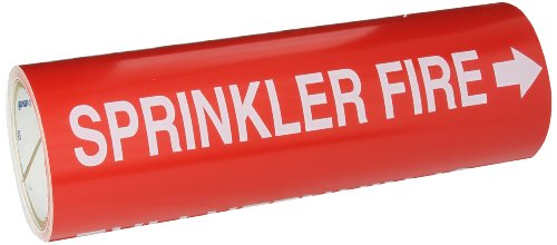 "Brady 15592 Roll Form Pipe Markers, B-946, 12"" X 30', White On Red Pressure Sensitive Vinyl, Legend ""Sprinkler Fire"""