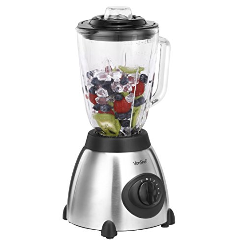 Best Price VonShef Premium Variable Speed 500W Blender, 5 Speeds Plus Pulse Function, Silver