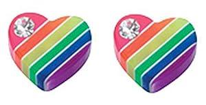Mon-bijou - D872c - Boucle d'oreille coeur arc-en-ciel en argent 925/1000