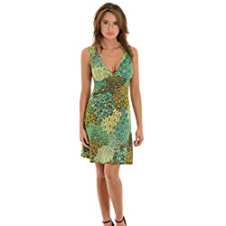 Modern Peacock Print Dress Women's Short Sundress with Unique Keyhole Back