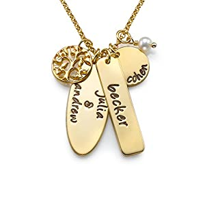 Gold Plated Family Tree Necklace with Personalized Charms (14 Inches)