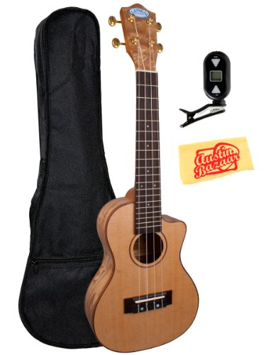 Lanikai Lqa-Cca Quilted Ash Cutaway Acoustic-Electric Concert Ukulele Bundle With Gig Bag, Tuner, And Polishing Cloth