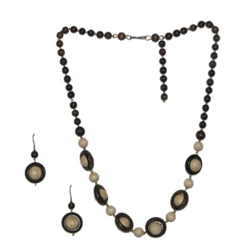 Russian Multi Color Wooden Jewelry Set -Earring and Necklace