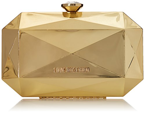 Love Moschino Gold Jewel Evening Bag Clutch, Gold, One Size