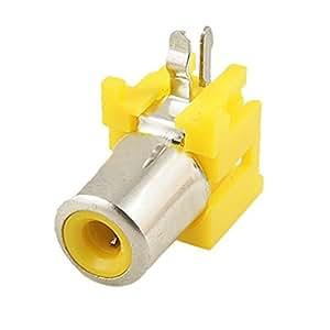Solder Type Right Angle Single Female Jack RCA Socket Yellow