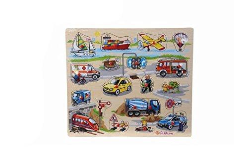 Eichhorn Holzeinlegepuzzle Kinder Holz Puzzle Tiere Auto Bauernhof ab 2 Jahre: Farbe: Fahrzeuge