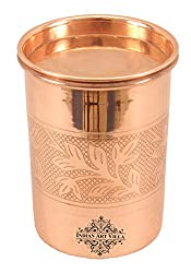 IndianArtVilla 3.8 X 2.9 Pure Copper Embossed Glass Tumbler with Lid 300 ML - Serving Drinking Water Home Hotel Restaurant Tableware Good Health Benefit Yoga Ayurveda