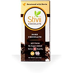 Stivii Original Dark Chocolate (No Sugar Added, 3.5oz, 5-pack)
