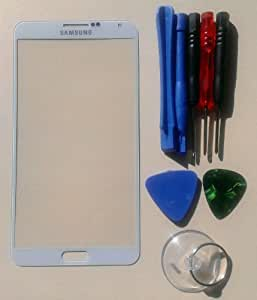 White Samsung Galaxy Note 3 N9000 Replacement Front Screen Glass Lens & Tool Kit Screen Glass (White)