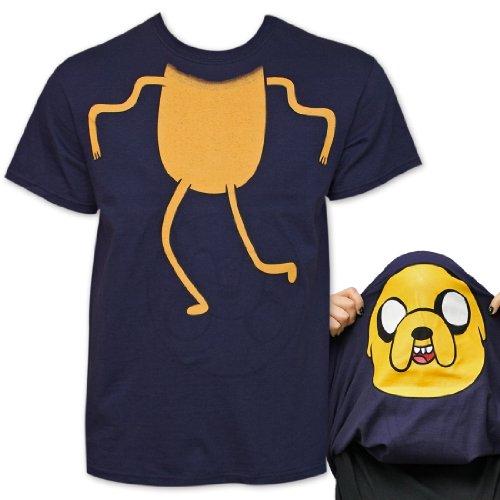 Adventure Time Jake Reversible Mask Costume Navy Blue T-Shirt | L