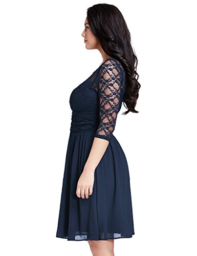 LookbookStore Womens Plus Size Navy Lace Top Chiffon Skirt A-line Skater Formal Dress 22W