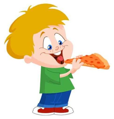 "Kid Eating Pizza - 24""H x 23""W - Peel and Stick Wall Decal by Wallmonkeys"