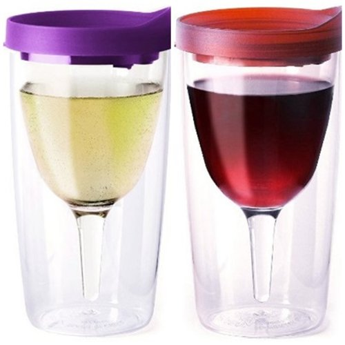 Pair Of 2 Purple And Merlot (Red) Lid Vino2Go 10 Oz Travel Party Tumbler Adult Wine Sippy Cup