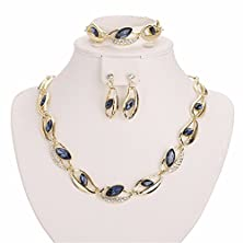 buy Moochi 18K Gold Plated Crystal Beads Circle Necklace Earrings Ring Jewelry Set Show Wedding Party Dance