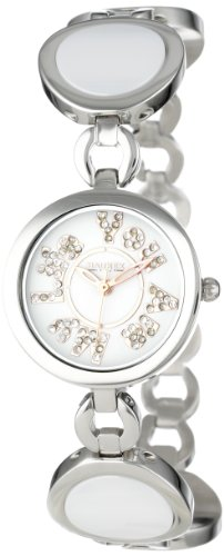 Haurex Italy You Are My Life White Dial Ceramic Watch #XA349DWH - Reloj de mujer de cuarzo, correa de acero inoxidable color plata