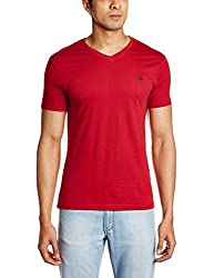 U.S. Polo Assn. Men's V Neck Cotton T-Shirt (I031-125-P1-M Red)