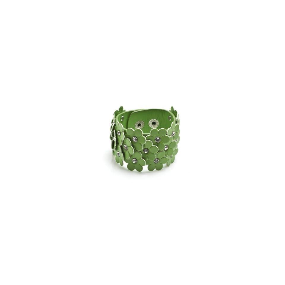 Charm & Rock Leather Flower Crystal Bracelet in Green