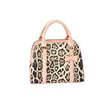 Samaz PU Leather Women Girls Handbag Little Bow Leisure Shoulder Bag (Leopard style)