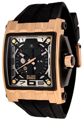 ELINI Watches:Men's Captain Automatic Black Silicone Images