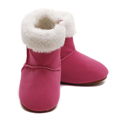 Modit Baby Girls 4 Berry Micro Suede Zipper Faux Fur Cuff Boots