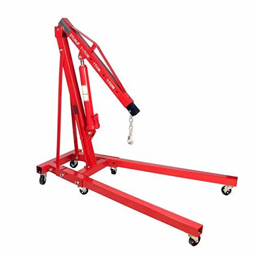 2 Ton Folding Engine Hoist Cherry Picker Shop Crane Lift w/ 8 Ton Hydraulic Ram