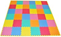 ProSource Puzzle Solid Play Mat for Kids - 36 tiles with edges from ProSource