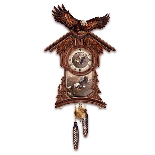 Timeless Majesty Collectible Cuckoo Clock With Bald Eagle Art by The Bradford Exchange