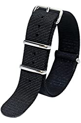 Sutter & Stockton 20mm Solid Black Interchangeable Replacement Nylon Military Watch Strap Band