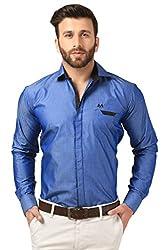 Mesh Full Sleeves Casual Cotton Blended Shirt for Men's/Boy's (Blue) -42
