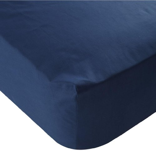 Percale Fitted Sheet, Navy Blue, Double Size Bed Sheet 180 Thread