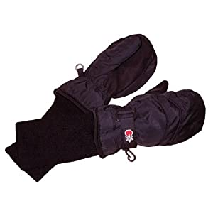 SnowStoppers Kid's Nylon Waterproof Snow Colorful Mittens (Black, X-Small)
