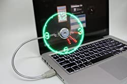 USB LED Clock Fan (Silver) for PC, Notebook, Power Bank
