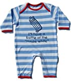 I'll have a bottle of the housewhite' sky blue/white 0-6 months striped romper sleepsuit